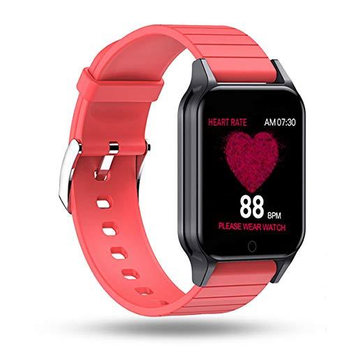 UIEMMY Medida de Temperatura Relojes Inteligentes IP67 Reloj de Pulsera Impermeable Monitor de presión de frecuencia cardíaca Pronóstico Bebida Recordatorio Smartwatch, Rojo