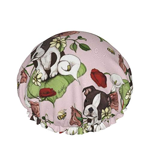 Gorro de ducha de doble capa para uso en el hogar para mujeres y niñas para cabello largo rizado, para todas las longitudes de cabello (Boston Terrier Puppy Posie con flores y abejas)
