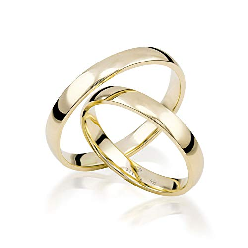 Paar 585 Gold Klassische Trauringe inkl. Etui Gold Hochzeitsringe Eheringe 14K