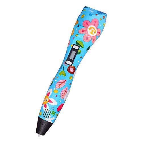 3D Doodler Pen,Printing Drawing Pen,3D Printing Pen,3D Pen,3D Crayon Gift for Printer Pen,with LCD Screen Intelligent USB Powered 3D Drawing Pen-Blue