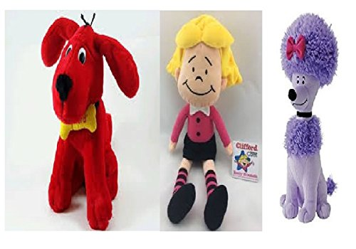 "Kohl's Cares Clifford the Big Red Dog Gang - Clifford 13"" Plush, Emily Elizabeth 10.5"" Doll, T-Bone 10"" Stuffed Dog and Cleo 11.5"" Soft Animal Toy Bundle – Set of 4"