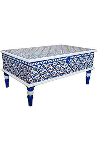 Marokkaanse tafel salontafel 100 cm | Oosterse houten salontafel oosters met de hand geschilderd | Indiase woonkamertafel met opbergruimte | Aziatische meubels uit India oosters 60 x 100 cm multicolor