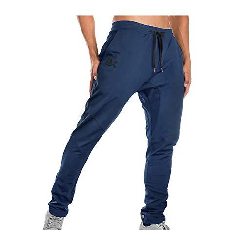 Brokig - Pantaloni da ginnastica da uomo, stile casual, vestibilità slim fit, adatti per la corsa, con doppie tasche Marina Militare M