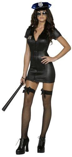 Smiffys Disfraz Fever de policía corrupta, Negro, con Vestido, cinturón y Gorra