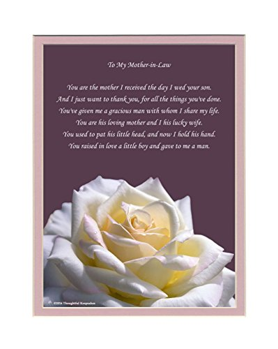 Mother-in-Law Gift with Thank You for My Husband Poem. Rose Photo, 8x10 Double Matted. Gift for Mother-in-law for Wedding, Christmas or Birthday Gifts