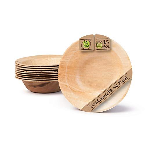 BIOZOYG Palmware Plato de Snack Profunda I Profundo 14 cm 25 Piezas...