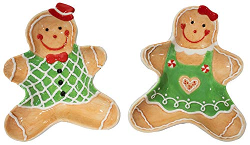 Set of 2 Gingerbread Couple Christmas Themed Winter Holiday 6' Ceramic Accent Cookie Plates