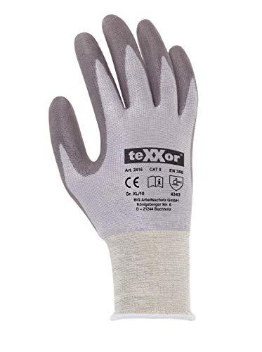 (12 Paar) teXXor Handschuhe Schnittschutz-Strickhandschuhe PU-Beschichtung 12 x grau/grau XL