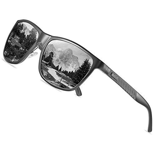 DUCO Rechteckigen polarisierten Metallrahmen Sonnenbrille Outdoor-Brille für das fahren 8200 (Gunmetal)