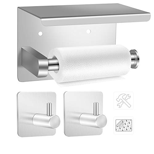EXLECO Toilettenpapierhalter 14cm wc Papier Halterung Edelstahl Klopapierhalter ohne Bohren mit 2 Stück Selbstklebend für Badezimmer und Küche