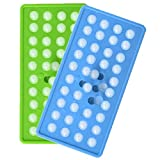 TINANA Mini Ice Cube Trays Reusable 40 Ice Cube Tray Easy-Release Silicone Ice Cube Mold Stackable Ice Maker for Homemade Whiskey Cocktail Wine Milk Juice (Round ice-green+blue)