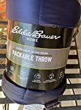 Eddie Bauer Packable Throw 60 by 70 inches Blue Checked Down Alternative Fill