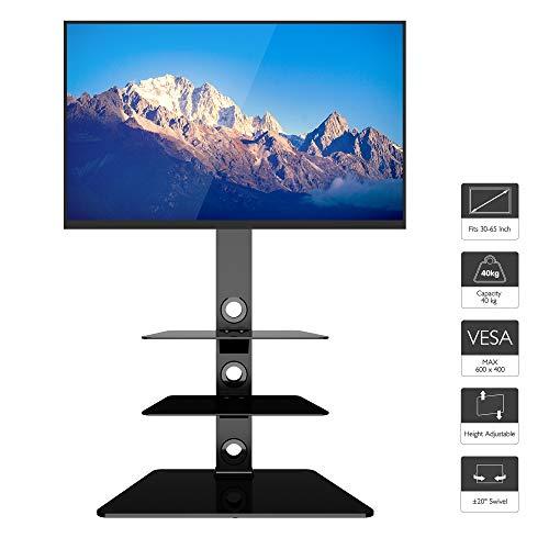 BONTEC TV Ständer TV Bodenständer TV Standfuß mit 3 Ablagen aus gehärtetem Glas für 30-65 Zoll LED OLED LCD Plasma Flach Gebogene Bildschirme höhenverstellbar max.VESA 600x400 mm bis 40 kg