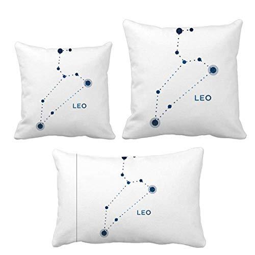 DIYthinker Leo signo de constelación del zodiaco, juego de almohadas de cojín de relleno para el hogar, sofá, decoración de regalo