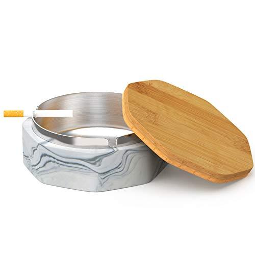 SEA or STAR Keramischer geometrischer Aschenbecher mit winddichtem Deckel für Haus- oder Außenaschenbecher für Zigaretten(Schwarz)