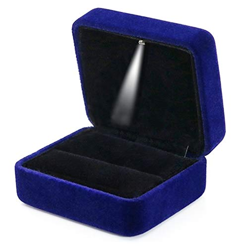 GBYAN Velvet Ring Box with LED Light Jewelry Display Gift Box for Proposal,Engagement, Wedding (1 ring holder, blue)