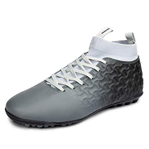 KANGLE Botas de fútbol para Hombre Botas Altas Zapatillas de fútbol para Interiores Calzas con Listones de Hierba Botas de Zapato Futsal Profesional Crampon Hombre Zapatillas,Gris,42