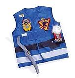 Simba 109252380 - Feuerwehrmann Sam Rettungsset, Feuerwehr Einsatzweste mit Brecheisen, Taschenlampe und WalkieTalkie, blau, für Kinder ab 3 Jahren