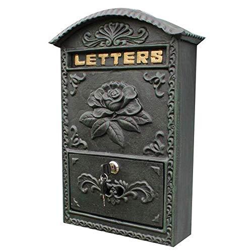 CMmin brievenbus, moderne metalen muurbevestiging vergrendelingsmailbox - Indoor Outdoor Universele Verticaal gemonteerde brievenbus - 37,5 x 33 x 10,8 cm