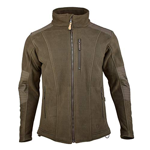 Outdoor Shaping Men's Warm Fleece Hunting Jacket Waterproof Breathable Military Tactical Sport Jacket, Brown, Large