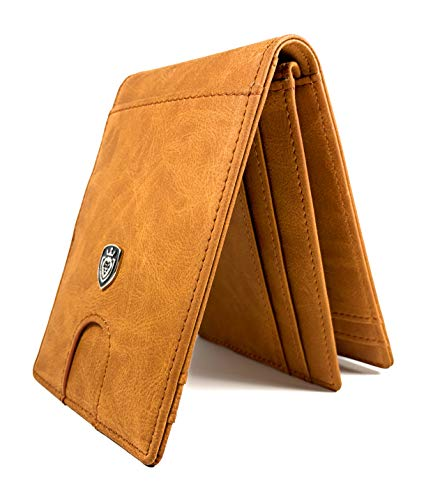 Men's Slim Bifold Leather Wallet with Money Clip and RFID Blocking Card Protection - minimalist wallets for men.