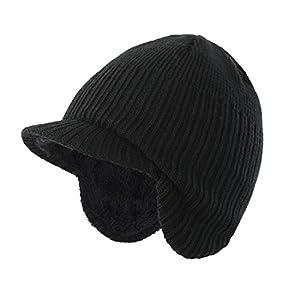 (コネクタイル)Connectyle ニット帽子 つば付き 赤ちゃん 幼児 暖かい 冬帽 子供 ニットキャップ 耳あて ニット帽 キッズ 男の子 ボア裏地 防寒 ブラック S