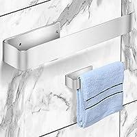 タオルハンガーおしゃれ 304ステンレス製タオルホルダー 強い粘着性 壁掛けタオルバー おふろ 浴室 トイレット キッチン 洗面所で収納適用 取付簡単