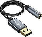 KiwiBird Adaptateur USB Audio vers Jack 3,5mm, Prise Jack USB Casque et Microphone, TRRS 4 Pôles connecteur, Carte Son Externe Compatible avec Windows PC, Mac, Surface, PS4, Ordinateur Portable