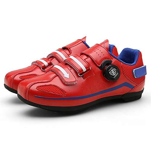 Sebasty Zapatillas De Ciclismo,Zapatillas De Ciclismo Sin Bloqueo para Hombres Y Mujeres,Zapatillas De Ciclismo Ligeras Sin Candado O Bicicletas De MontañA,Suela De Goma,Parche Antideslizante,Red43