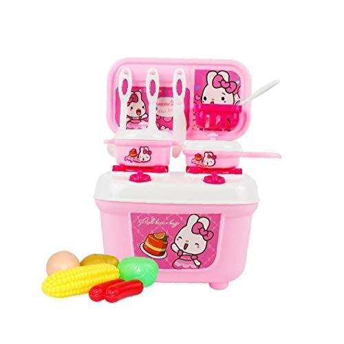 Pretendo cocina de juguete Kits de la maleta del recorrido de cocina de juguete Set Incluye ollas sartenes Utensilios Alimentos Juego de cocina de juguete Juego de aprendizaje Rosa fuente de la cocina