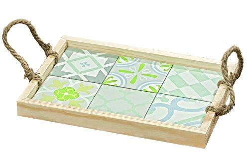 Unbekannt Plateau décoré avec des Carreaux et des poignées de Corde - idéal pour Le Petit déjeuner au lit ou pour Servir la Nourriture - L33cm