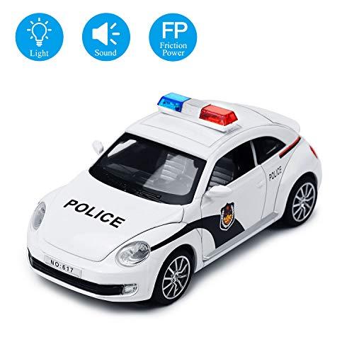 YIJIAOYUN Friction Powered Police Car 1:32 Vehículo de Juguete para niños con Luces Intermitentes y Sonido