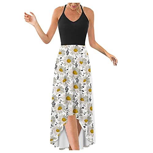 Vestido De Fiesta 2021,Vestido Mujer,Vestido De Fiesta Largo con Estampado De Dobladillo Irregular Elegante con Cuello En V Vestido De Tirantes Finos Vestidos Largos Verano,Vestidos De Fiesta
