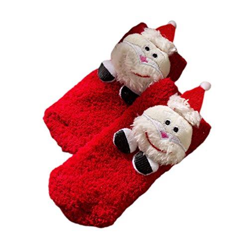 Amosfun Weihnachten Winter weich warm dick kalt Stricken Wolle Crew Socken Flauschigen Strumpf für Baby Kind (Weihnachtsmann rot)