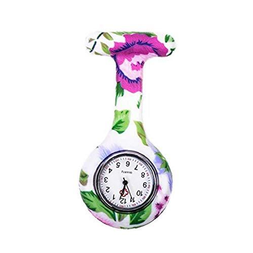 NaiCasy Estilo de Cuarzo de Silicona Enfermeras-Pin de la Solapa de la Broche de Reloj de Bolsillo Tipo T-Impresión Reloj de Bolsillo batería incorporada