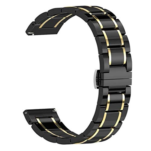 Pwkutn 22mm Ceramic Watch Band Bracelet Smooth Wristband Butterfly Buckle Strap for Samsung Gear S3 Classic Frontier Gear 2 R380 R381 R382, Moto 360 2 46mm, LG W110 Black-Gold