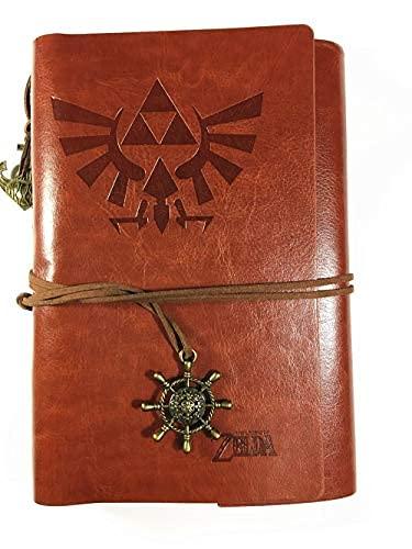 Serie Zelda Libro de Diario Recargable Vintage, Papel de Dibujo Suelto, Zelda Wilderness Legend Slate PU Cuero clásico Diario de Viaje en Relieve Cuaderno Colgante Vintage