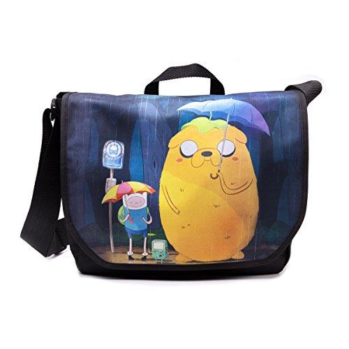 DIFUZED Sac Besace - Adventure Time Finn & Jake Totoro Style Bolso Bandolera, 35 cm, Multicolor (Noir)