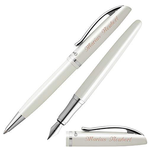 Pelikan Schreibset JAZZ ELEGANCE Weiß Metallic mit Laser-Gravur Füllfederhalter und Kugelschreiber