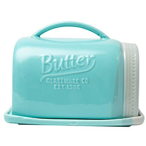 Comfify Mason Jar Keramik-Butterdose mit Deckel und Griff - Vintage Keramik-Butterdose - Dekorative Butterdose in rustikalem und ländlichem Design - Praktische Butterdose in aquablauer Farbe