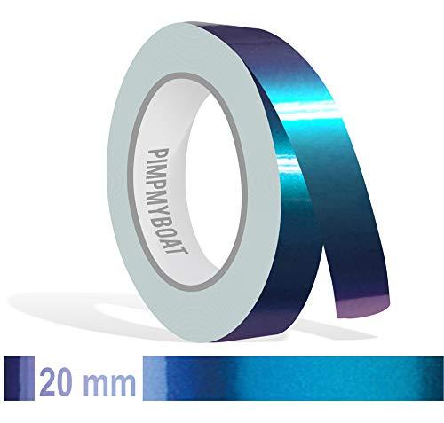 Siviwonder Zierstreifen Shift Effect Marine blau violett Glanz in 20 mm Breite und 10 m Länge Aufkleber Folie für Auto Boot Jetski Modellbau Klebeband Dekorstreifen - Flip Flop Autofolie Farbwechsel