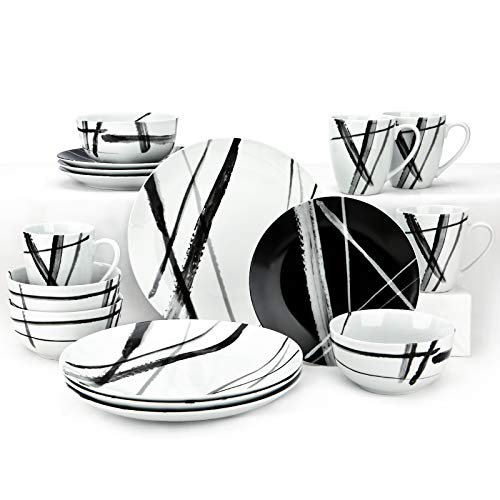 ZYAN 16 Piece Stoneware Dinnerware Set include Plates, Dishes, Bowls and Mugs, Black White Metro Series Round Dinner Plate Set for 4