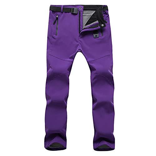 fuchsiaan Damen Skihose mit Gürtel, Schneehose, Snowboardhose, Winddichter Wandern Winter Warm Quick Dry Pants für Snowboard Skating Trekking Mountain Climbing Purple XL