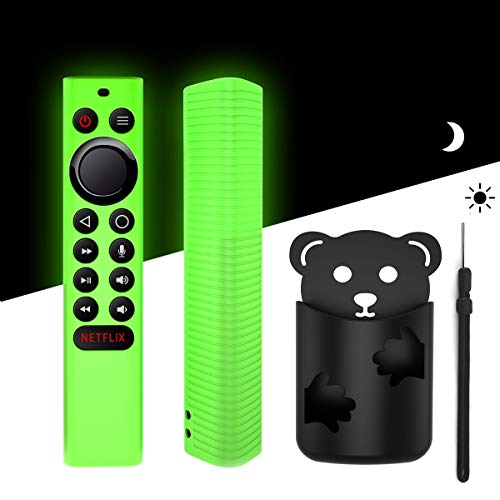 Glow Green Protective Remote Cover and Free-Punch Remote Holder Set, TOLUOHU Anti-Slip Light Weight Kids-Friendly Silicone Case for NVIDIA Shield TV Pro/4K HDR Remote Controller with Hand Strap