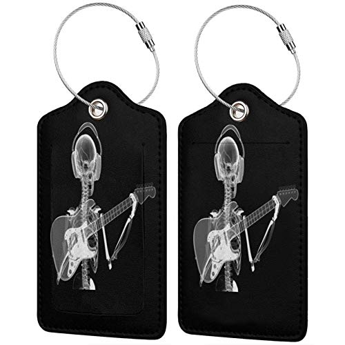 Skull Skeleton in Headphones Playing Guitar Luggage Tags Leather Travel Suitcases Id Identifier Baggage Label Card Holder.