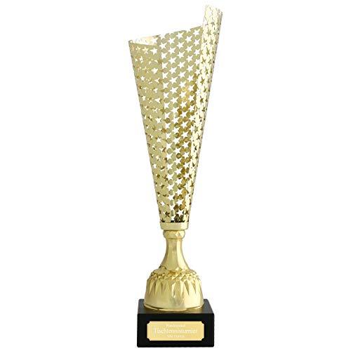 Wanderpokal VITRE Pokal mit Gravur Gold aus Metall 40 cm jetzt selbst gestalten