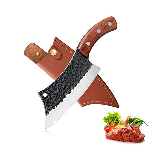 Hand Forged Meat Cleaver 6.3 Inch Kitchen Chef Knife with Leather Sheath and Gift Box Outdoor Butcher Knife Hammered Chopper Boning Knife for Home, Camping, BBQ (Brown)