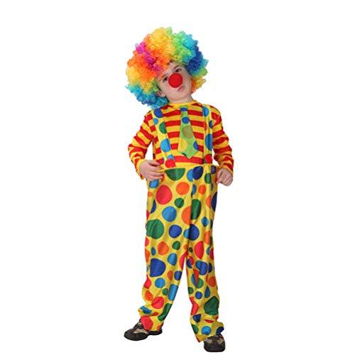 BESTOYARD Clown Kostüm Kinder Cosplay Kostüm für Rollenspiel Karneval Perforamnce Party L (Kleidung + Hose + Nase + Perücke)