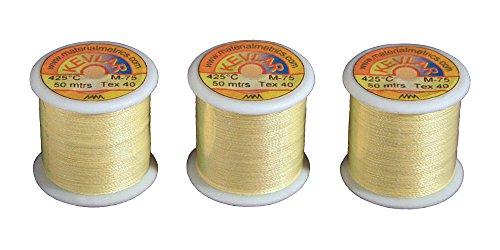 Material Metrics Kevlar hilo de coser 3 x 50 m carretes (150 m en total), Tex-40 muy fuerte, alta temperatura