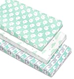 Cambria Baby 100% Organic Cotton Changing Pad Covers or Cradle Sheets w/Reinforced Safety Strap Holes. Mint/Gray Waves, Elephants & Clouds Patterns for Boys or Girls. 3 Pack